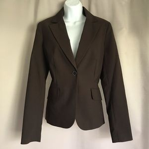 Brown Ratio Blazer Pinstriped Blazer